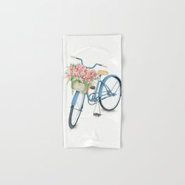 Blue Bicycle with Flowers in Basket Hand & Bath Towel