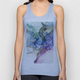 Moody Mermaid Bubbles Abstract Ink Unisex Tank Top