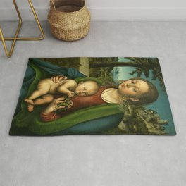 """Lucas Cranach the Elder """"The Virgin and Child with a Bunch of Grapes"""" Rug"""