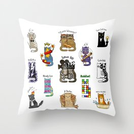 Science cats. History of great discoveries. Schrödinger cat, Einstein. Physics, chemistry etc Throw Pillow