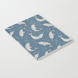 Narwhal  Grey on Navy Blue Notebook