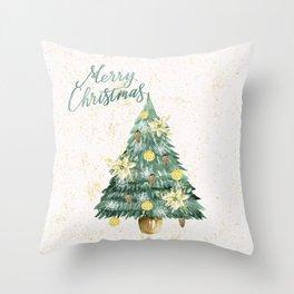 Christmas Tree Merry Christmas Throw Pillow