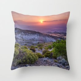 Summer sunset at the mountains. Sierra Nevada Throw Pillow