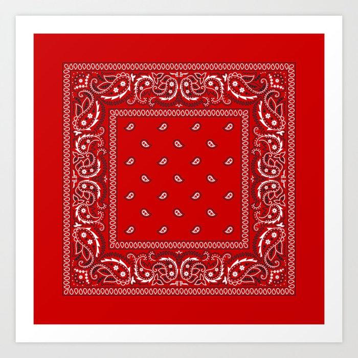Paisley - Bandana - Red - Southwestern - Boho Kunstdrucke