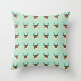 Cute deer pattern Christmas decorations retro colors light green background Throw Pillow