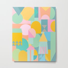 Pastel Shape Collage Metal Print
