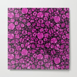 Barca Dots Pattern pink/black Metal Print