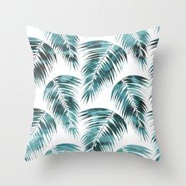 Maui Palm Leaf 2 green Throw Pillow