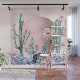 Desert Sun + Gemstones Rose Gold Pink Watercolor Wall Mural