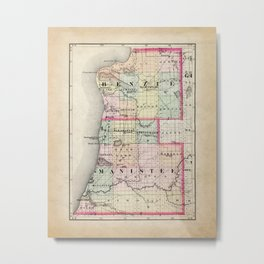 Benzie and Manistee County Michigan Map Metal Print
