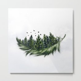 Earth Feather • Green Feather (horizontal) Metal Print