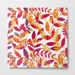 Watercolor branches - purple and orange Metal Print