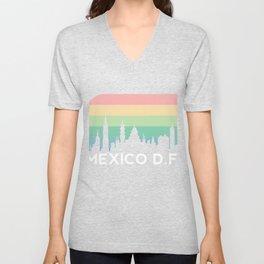 Mexico DF Retro Mexican Vintage Hispanic Latino Districto Federal Ciudad Architecture Unisex V-Neck