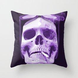 Skull Smoking Cigarette Purple Throw Pillow