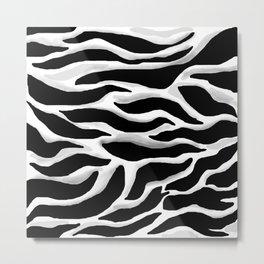 Black and white, abstract zebra, animal print Metal Print