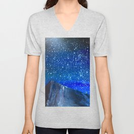 Moon Rising as an orange dot in the Great Sand Dunes National Park, USA travel Unisex V-Neck