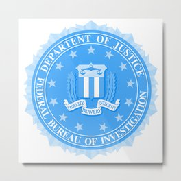 FBI Seal In Blue Metal Print
