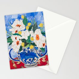 Queen of California - Giant Matilija Poppy Bouquet in Lion Vase on Blue Stationery Cards
