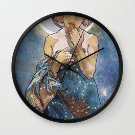 Alphonse Mucha Moonlight Art Nouveau Wall Clock
