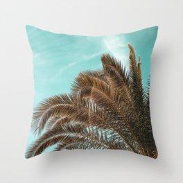 Summer Palm Leaf Print {1 of 3} | Teal Sun Sky Beach Vibes Tropical Plant Nature Art Throw Pillow