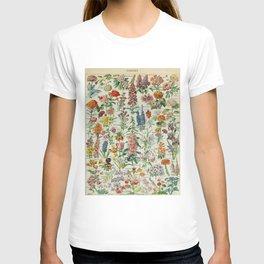 Flowers Vintage Scientific Illustration French Language Encyclopedia Lithographs Educational T-shirt