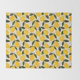 Mediterranean Summer Lemons Pattern Throw Blanket