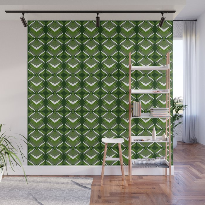 Grassy rhombuses of white stars with hearts in a bright intersection. Wall Mural