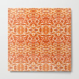 Terracotta Ikat Watercolor Metal Print