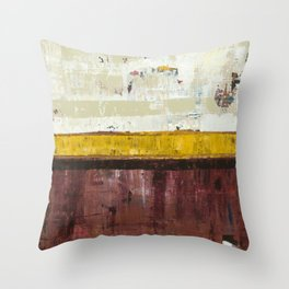 Timber Maroon Gold Abstract Art Painting Throw Pillow