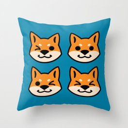 Four Red Shibas Throw Pillow