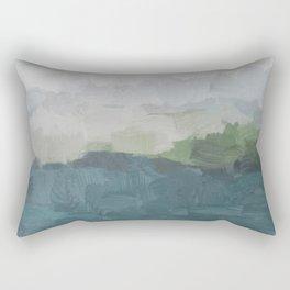 Gray Clouds Green Land Aqua Teal Water Ocean Waves Abstract Nature Painting Art Print Wall Decor  Rectangular Pillow