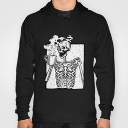 Skeleton Drinking a Cup of Coffee Hoody