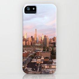 Manhattan City Skyline from Queens at Sunrise iPhone Case