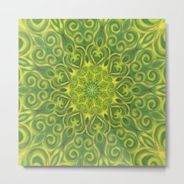 Green and Yellow center Swirl Pattern Metal Print