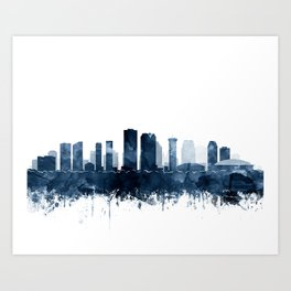New Orleans Skyline Blue Watercolor Print by Zouzounio Art Art Print