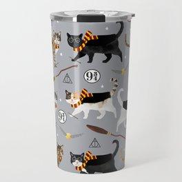 Cat wizard cats wizard school pattern Travel Mug