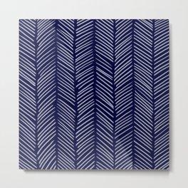 Indigo Herringbone Metal Print