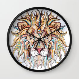 Brown Ethnic Lion Wall Clock