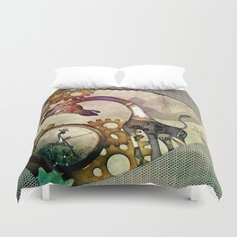 Funny giraffe, steampunk with clocks and gears Duvet Cover