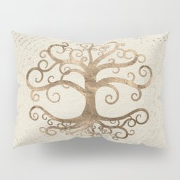 Tree of life Pastel Gold on Canvas Pillow Sham