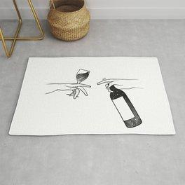 Wine connecting people. Rug