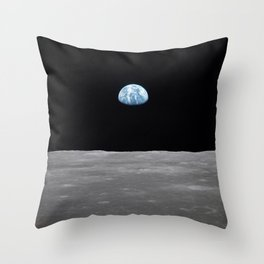 Earth rise over the Moon Throw Pillow