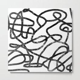 Linocut abstract minimal black and white art minimalist decor office dorm college Metal Print