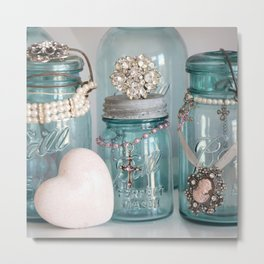 Vintage Mason Jars Shabby Chic Cottage Jeweled Decor Metal Print