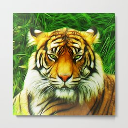 Tiger is Not Amused Metal Print