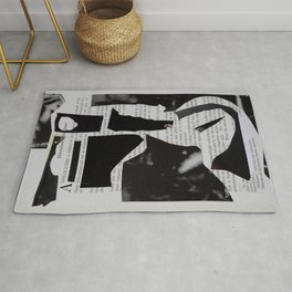black and withe abstract collage Rug