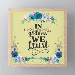 In Goddess We Trust - Yellow Framed Mini Art Print