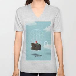 Isolated Chocolate cherry cake with parachute on blue sky background Unisex V-Neck