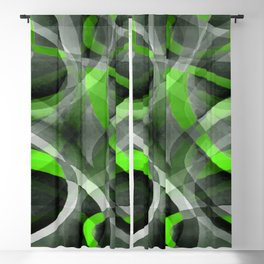 Eighties Vibes Lime and Grey Layered Curve Pattern Blackout Curtain