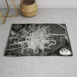 Dublin Map 1797 Vintage Reverse Black and White Rug